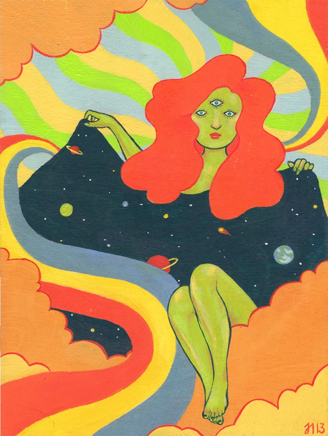 Source of the cool stuff: http://blog.jenniferilett.com/post/66413365232/i-painted-a-psychedelic-space-babe Here, the rainbowy, cloudy Cosmos lady, so named 'psychedelic space babe' seems to expose herself to ... or perhaps she is covering herself with, or... well, the art speaks for itself. I'd just like to post it all, but that is rude. So go checkout the website, and if it feels good then get your art on, commission some art or something. Before we move on, please, I ask that you meet me at the ice boat below.