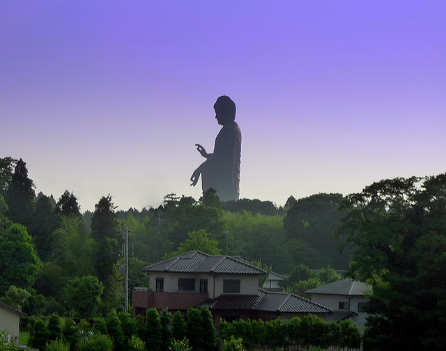 (Apparently) The tallest statue in the world, Ushiku Daibutsu.