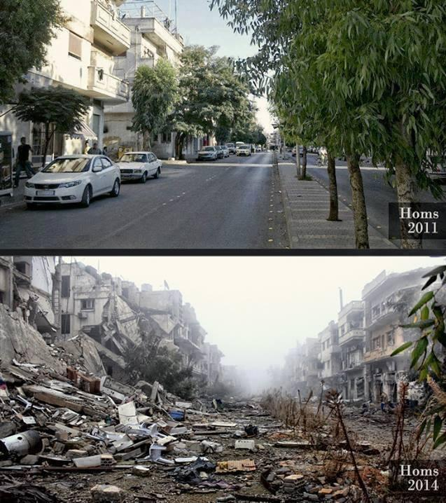 The same street in Homs, Syria in 2011 and 2013