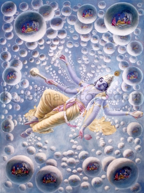 """As He sleeps within the Causal Ocean, innumerable universes are generated with His breathing. These floating universes are scattered all over the Causal Ocean. They stay during a breath of Maha-Visnu. """