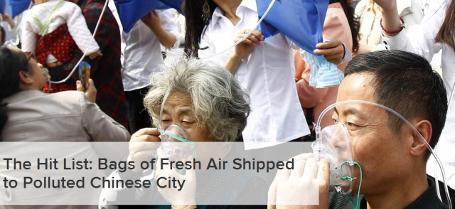 Bags of Fresh Air Shipped to Polluted Chinese City [NBC news]