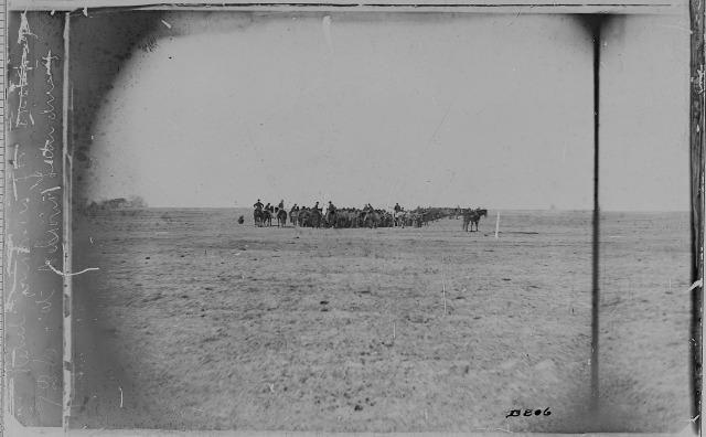 Union cavalry escorting Confederate POWs during a prisoner exchange, Cox's Landing, Virginia, c. 1864.