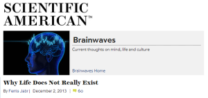 blogs.scientificamerican - Ferris Jabr -  Why Life Does Not Really Exist (click for article)